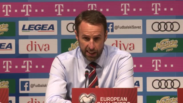 Head coach Gareth Southgate of England speaks during a press conference after the 2020 UEFA European Championships Group A qualifying match between...