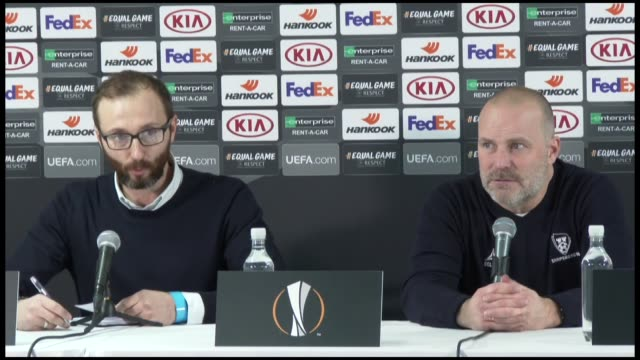 Head coach Geir Bakke of Sarpsborg holds a press conference after the UEFA Europa League Group I game between Sarpsborg and Besiktas at the Sarpsborg...
