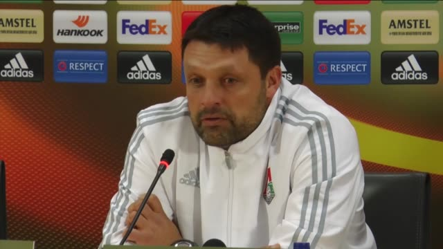 Head coach Igor Cherevchenko of Lokomotiv Moscow holds a press conference after the UEFA Europa League Group H soccer match with Besiktas at...