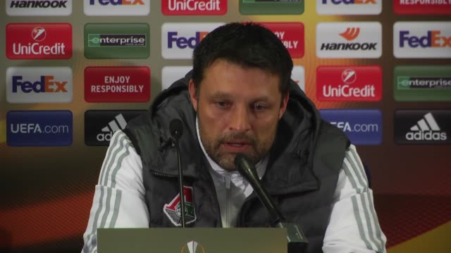 Head coach Igor Cherevchenko of Lokomotiv Moscow holds a press conference after the UEFA Europa League Round of 32 first leg match between Fenerbahce...