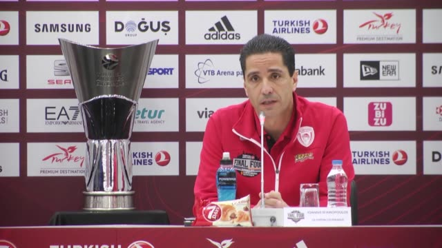 Head coach Ioannis Sfairopoulos of Olympiacos Piraeus speaks during press conference before the Turkish Airlines Euroleague Final match between...