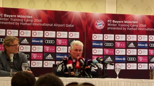 Head coach Jupp Heynckes of FC Bayern Munich holds a press conference ahead of a friendly match with Al Ahly SC on January 06 2018 in Doha Qatar