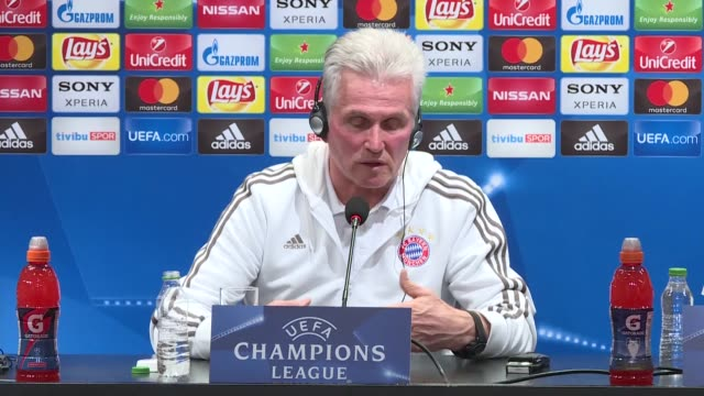 Head coach Jupp Heynckes of FC Bayern Munich holds a press conference ahead of the UEFA Champions League round 16 return match between Besiktas and...