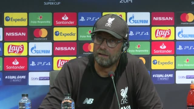 Head coach Jurgen Klopp of Liverpool holds a press conference following Liverpool captured the 2019 UEFA Super Cup late Wednesday at Istanbul's...