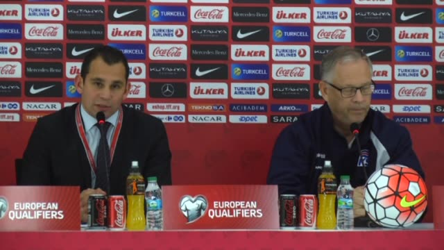 head coach lars lagerback of iceland speaks during a press conference after the uefa euro 2016 qualifying round group a soccer match at torku arena... - konya stock videos and b-roll footage