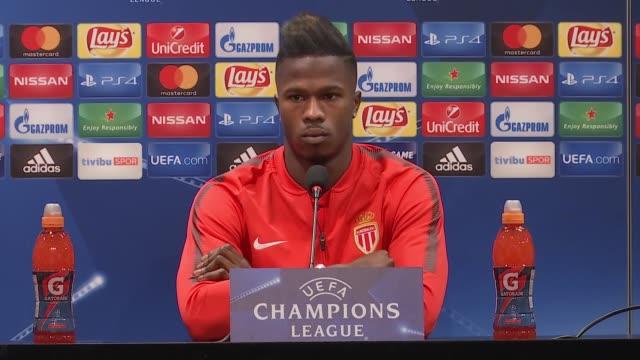 Head coach Leonardo Jardim and footballer Keita Balde of Monaco attend a press conference ahead of UEFA Champions League Group G match between...