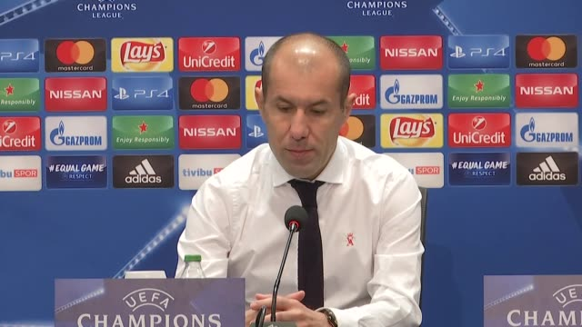 head coach leonardo jardim of monaco attends a press conference after uefa champions league group g match between besiktas and monaco at vodafone... - besiktas stock videos and b-roll footage