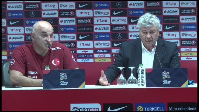 head coach mircea lucescu of turkey holds a press conference after the uefa nations league group b soccer match bettween russia and turkey at medical... - soccer competition stock videos & royalty-free footage