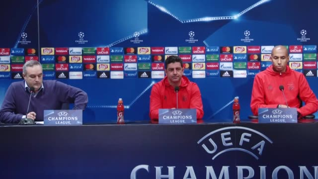 head coach of benfica rui vitoria and player luisao attend a press conference at vodafone arena in istanbul turkey on november 22 2016 benfica will... - uefa champions league stock videos and b-roll footage