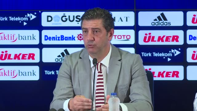 head coach of benfica rui vitoria makes a speech during a press conference following the uefa champions league third qualifying round's second leg... - leg press stock videos & royalty-free footage