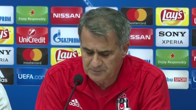 Head Coach of Besiktas Senol Gunes and player Ricardo Quaresma speak during a press conference ahead of the UEFA Champions League soccer match...