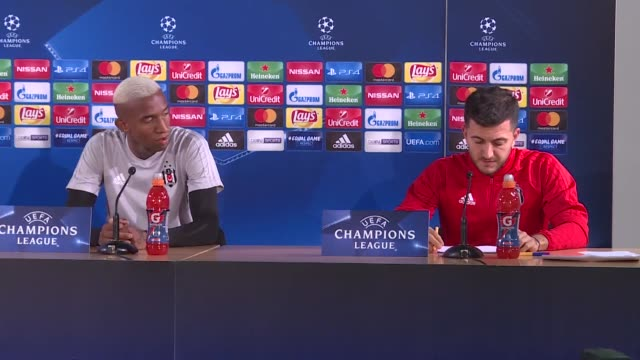 head coach of besiktas senol gunes and team's player anderson talisca hold a joint press conference ahead of uefa champions league group g soccer... - senol guenes stock videos and b-roll footage