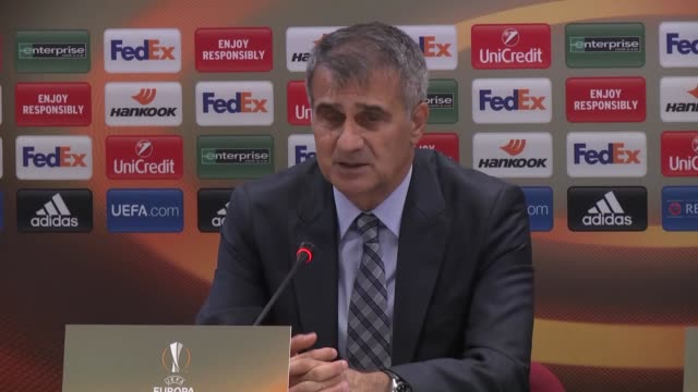 head coach of besiktas senol gunes delivers a speech during a press conference after uefa europa league group h football match against sporting cp at... - senol guenes stock videos and b-roll footage