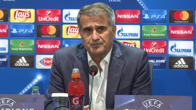 Head coach of Besiktas Senol Gunes delivers a speech during a press conference following the UEFA Champions League Group G soccer match between...