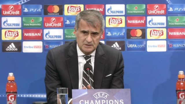 head coach of besiktas senol gunes holds a press conference following the his team's champions league group b soccer match against benfica in... - senol guenes stock videos and b-roll footage