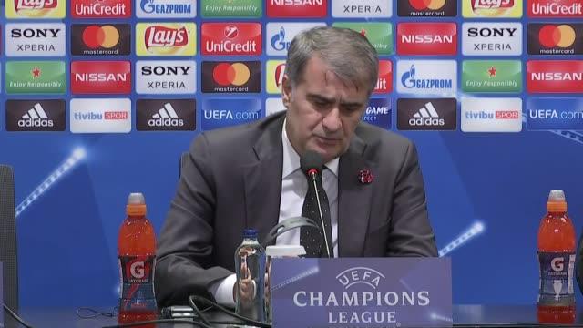 Head coach of Besiktas Senol Gunes makes a speech during a press conference following the UEFA Champions League round 16 return match between...