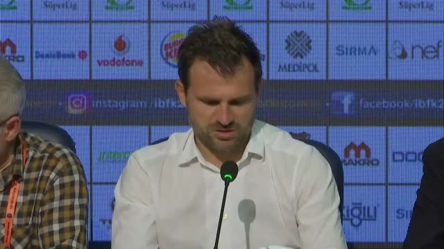 head coach of club brugge ivan leko makes a speech during a press conference following the uefa champions league qualification third round match... - qualification round stock videos & royalty-free footage