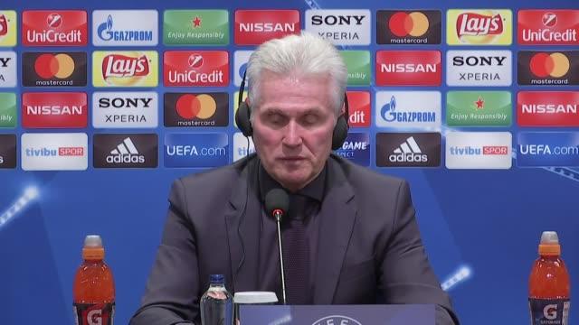 Head coach of FC Bayern Munich Jupp Heynckes makes a speech during a press conference following the UEFA Champions League round 16 return match...
