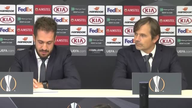 Head coach of Fenerbahce Phillip Cocu holds a press conference after Europa League Group D soccer match between Anderlecht and Fenerbahce in Brussels...