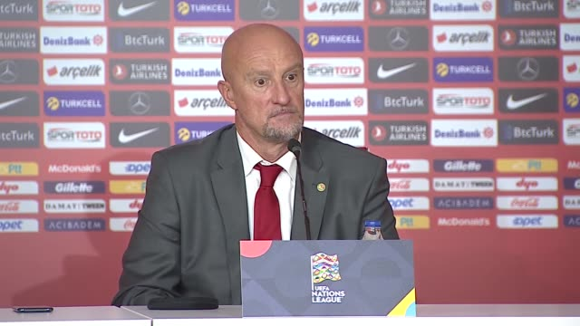 head coach of hungary national football team marco rossi holds a press conference after the uefa nations league b group 3 first match between turkey... - cultura ungherese video stock e b–roll