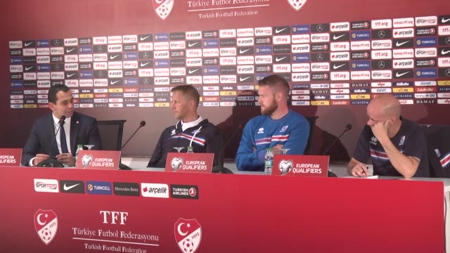 head coach of iceland heimir hallgrímsson makes a speech during a press conference ahead of the fifa world cup european qualification group i soccer... - fifa stock videos and b-roll footage