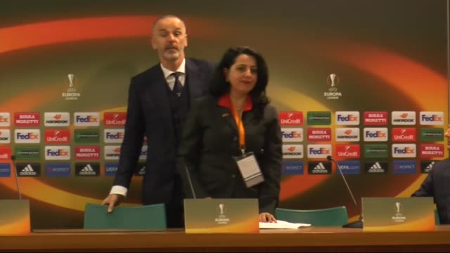 Head coach of Lazio Stefano Pioli holds a press conference after the UEFA Europa League Round of 32 second leg match between SK Galatasaray and SS...