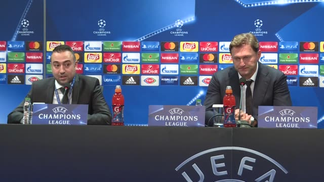 Head Coach of Leipzig Ralph Hasenhuttl speaks during a press conference following the UEFA Champions League Group G soccer match between Besiktas and...