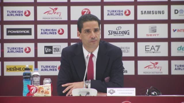 Head coach of Olympiacos Ioannis Sfairopoulos speaks during a press conference following the final basketball match between Fenerbahce and Olympiacos...