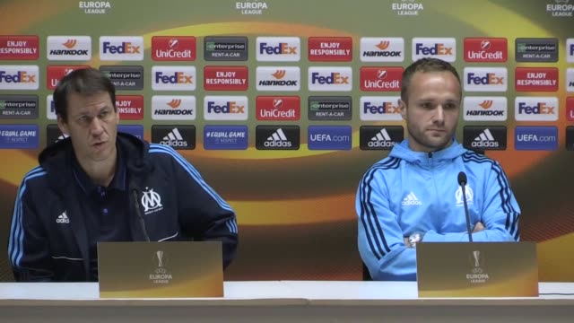 head coach of olympique de marseille rudi garcia and valere germain hold a press conference ahead of uefa europa league group i soccer match between... - konya stock videos and b-roll footage