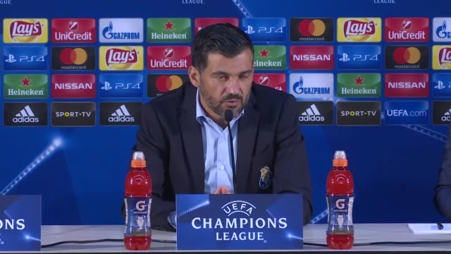 head coach of porto sergio conceicao makes a speech during a press conference following the uefa champions league group g soccer match between porto... - uefa champions league stock videos and b-roll footage
