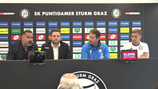 Head coach of Sturm Graz Franco Foda and midfield player Stefan Hierlander speak during a press conference ahead of the UEFA Europa League third...