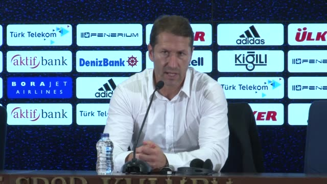 Head coach of Sturm Graz Franco Foda makes a speech during a press conference following the UEFA Europa League third qualifying round 2nd leg match...