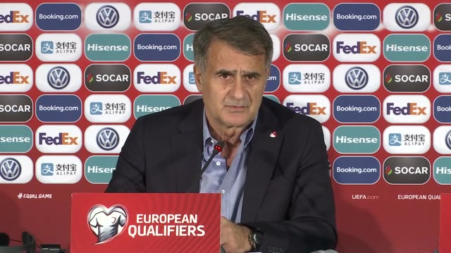 head coach of turkey senol gunes speaks during a press conference following the uefa euro 2020 european championship qualifiers group h soccer match... - moldova stock videos and b-roll footage