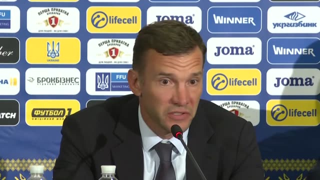 head coach of ukraine national team andriy shevchenko makes a speech during a press conference following the 2018 fifa world cup group i qualifying... - kharkov stock videos & royalty-free footage