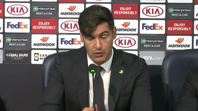 head coach paulo fonseca of as roma holds a press conference after the uefa europa league group j football match between medipol basaksehir and as... - paulo cesar fonseca do nascimento stock videos & royalty-free footage