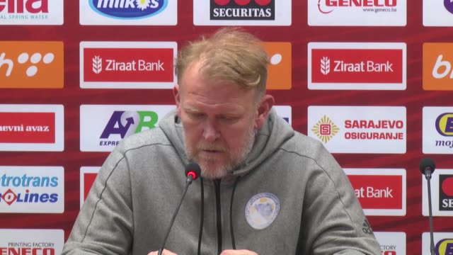 Head coach Robert Prosinecki of Bosnia and Herzegovina speaks during a press conference after the UEFA Euro 2020 Group J qualifying match between...