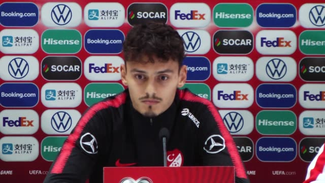 head coach senol gunes and player enes unal of turkey hold a press conference ahead of uefa euro 2020 european championship qualifiers group h match... - senol guenes stock videos and b-roll footage