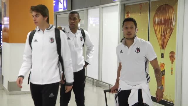 head coach senol gunes and players of besiktas arrives athens on march 08 2017 for europa league final stage match with olympiacos - senol guenes stock videos and b-roll footage