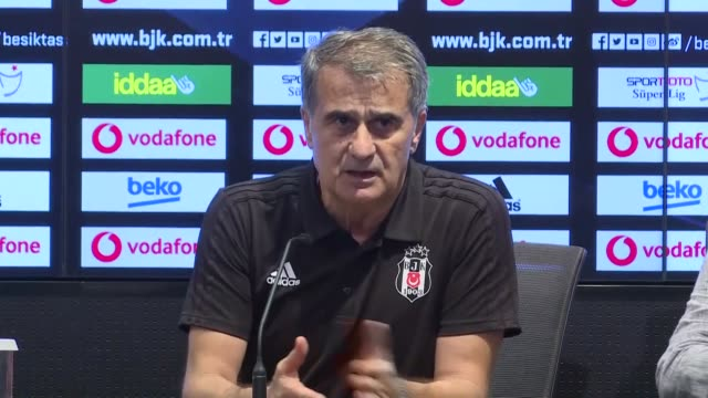 Head coach Senol Gunes of Beşiktaş holds a press conference after UEFA Europa League playoff second leg match between Partizan and Besiktas at...