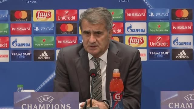 Head coach Senol Gunes of Besiktas attends a press conference after UEFA Champions League Group G match between Besiktas and Monaco at Vodafone Park...