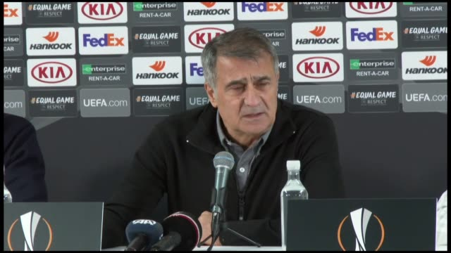 head coach senol gunes of besiktas holds a press conference after the uefa europa league group i game between sarpsborg and besiktas at the sarpsborg... - senol guenes stock videos and b-roll footage