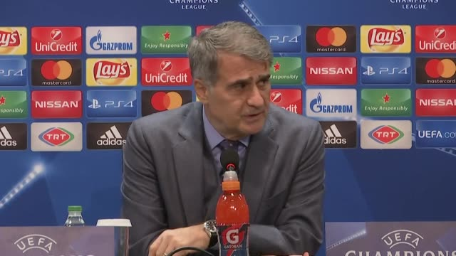 Head coach Senol Gunes of Besiktas holds a press conference after the UEFA Champions League Group G soccer match between Besiktas and Porto at the...