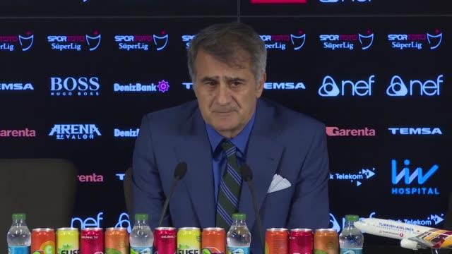 vídeos de stock, filmes e b-roll de head coach senol gunes of besiktas holds a press conference after turkish super lig soccer match against galatasaray at turk telekom stadium in... - senol guenes