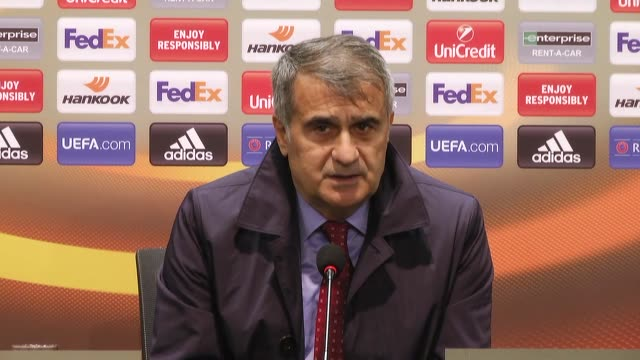 Head Coach Senol Gunes of Besiktas speaks during a press conference following the UEFA Europa League quarter final second match between Besiktas and...