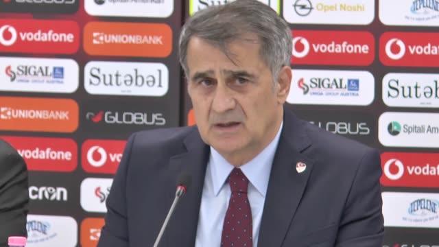vídeos de stock, filmes e b-roll de head coach senol gunes of turkey holds a press conference after the uefa euro 2020 group h qualifying match between albania and turkey at loro borici... - senol guenes