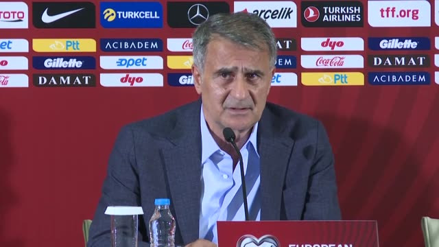 head coach senol gunes of turkey holds a press conference after the uefa euro 2020 qualifying round group h group match between turkey and albania at... - international team soccer stock videos & royalty-free footage