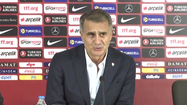 head coach senol gunes of turkey holds a press conference after the uefa euro 2020 qualifiers group h match between turkey and iceland at turk... - eight ball stock videos & royalty-free footage