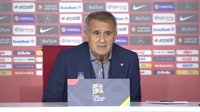 head coach senol gunes of turkey holds a press conference after the uefa nations league b group 3 first match between turkey and hungary at yeni... - traditionally hungarian stock videos & royalty-free footage
