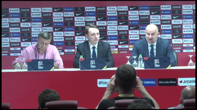 Head coach Stanislav Cherchesov of Russia holds a press conference after the UEFA Nations League Group B soccer match at Medical Park Stadium at the...