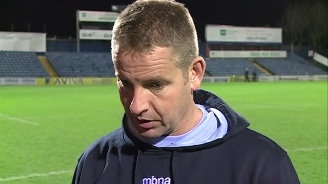 head coach tony hanks gutted by last gasp defeat after sale lost 23-30 in the last seconds of their aviva premiership game with exeter chiefs. nick... - exeter england stock videos & royalty-free footage